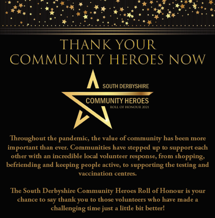 South Derbyshire Community Heroes Roll of Honour 2021 Poster